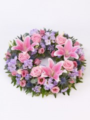 Rose and Lily Wreath - Pink & Lilac