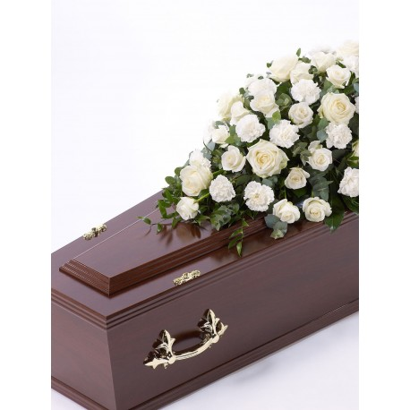 Rose and Carnation Casket Spray - White