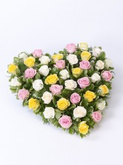 Mixed Rose Heart - Yellow & Pink